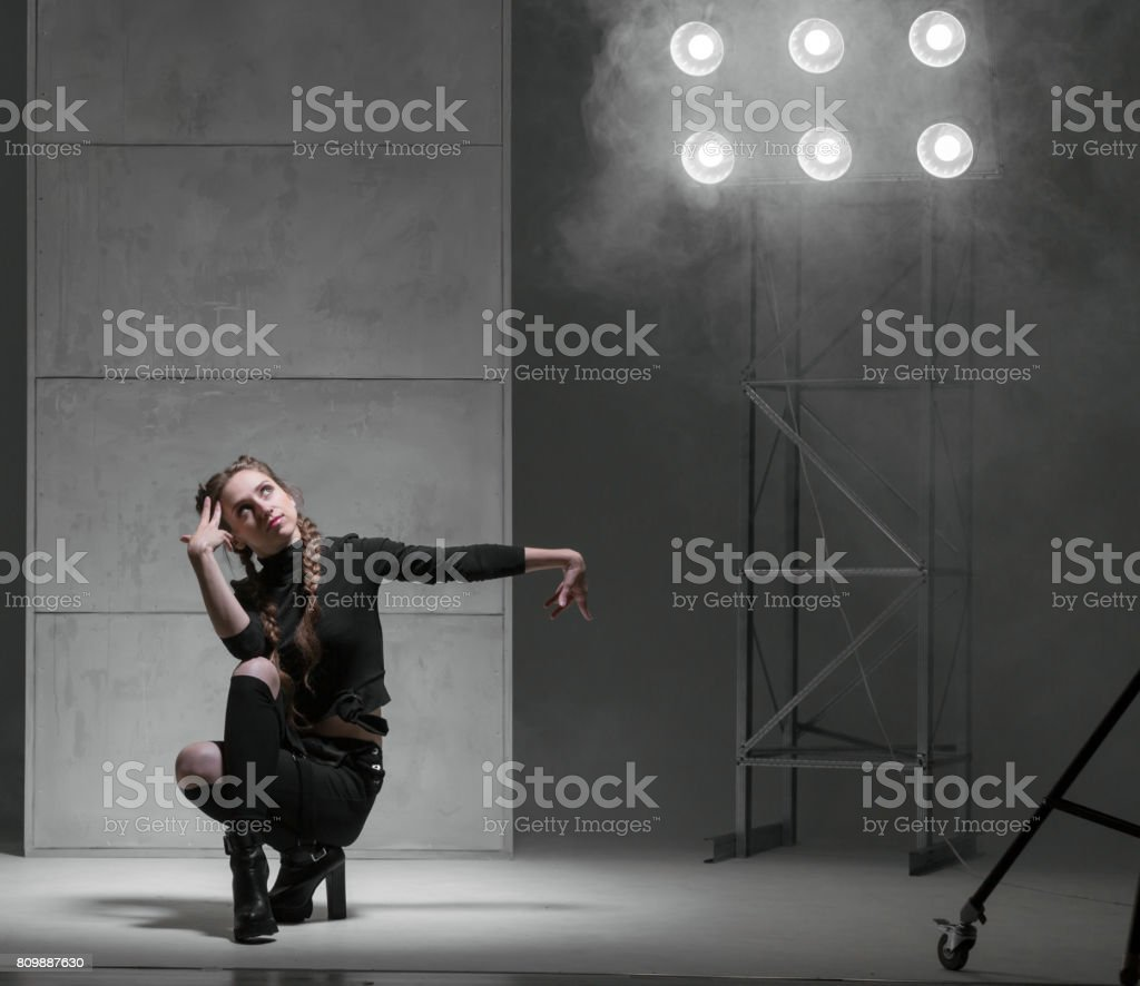 Flexible Dancer Woman Performing Modern Dance stock photo