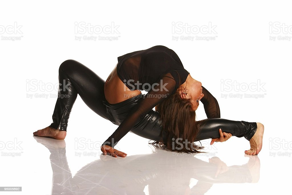 Flexible girl stretching royalty-free stock photo