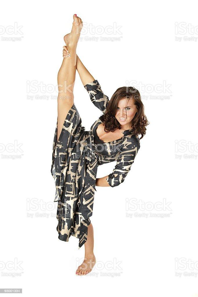 Flexible pretty woman doing splits royalty-free stock photo