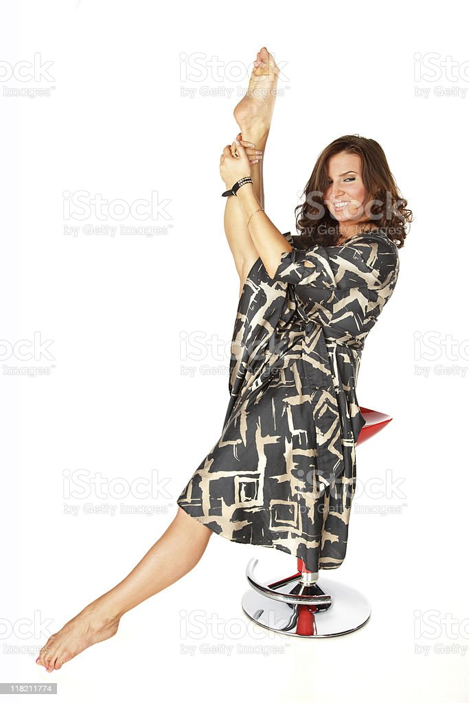 Flexible pretty woman stretchig royalty-free stock photo