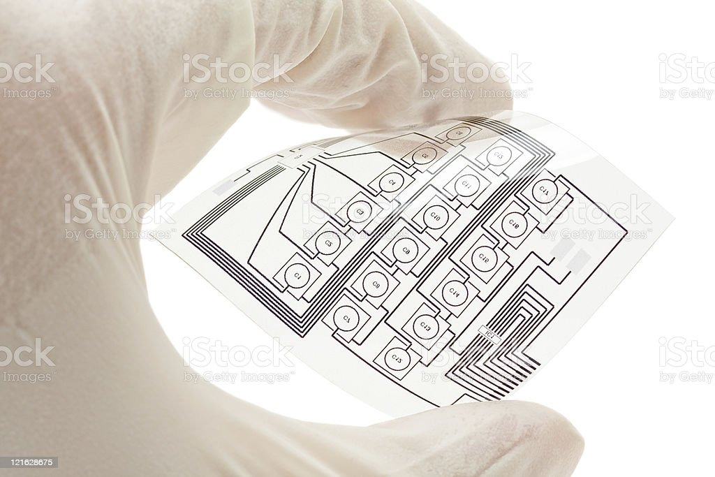 Flexible printed electric circuit stock photo