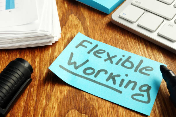 Flexible working policy concept. Piece of paper on table. stock photo