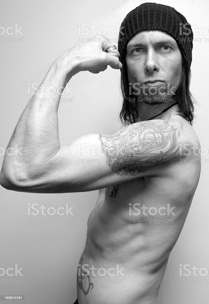 Flexing In Black & White stock photo