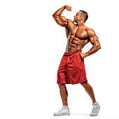 Muscular Men Flexing Muscles. Shoot on White background. Copy Space