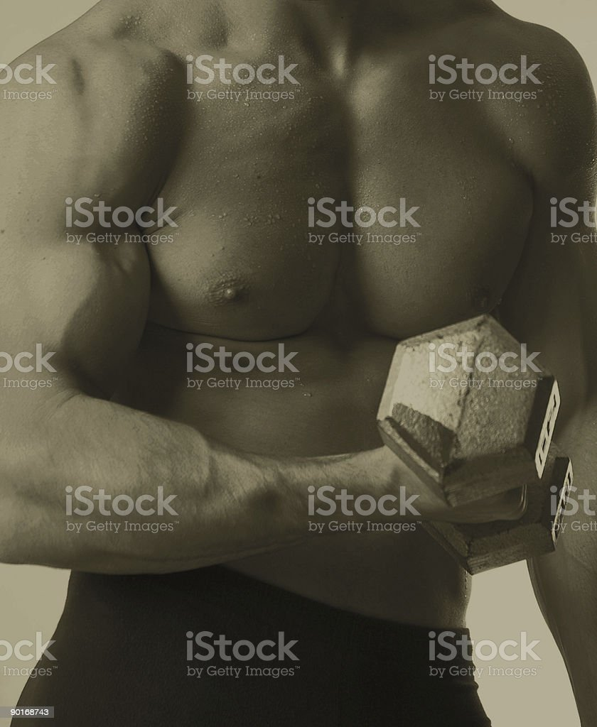 flexing the bicep royalty-free stock photo