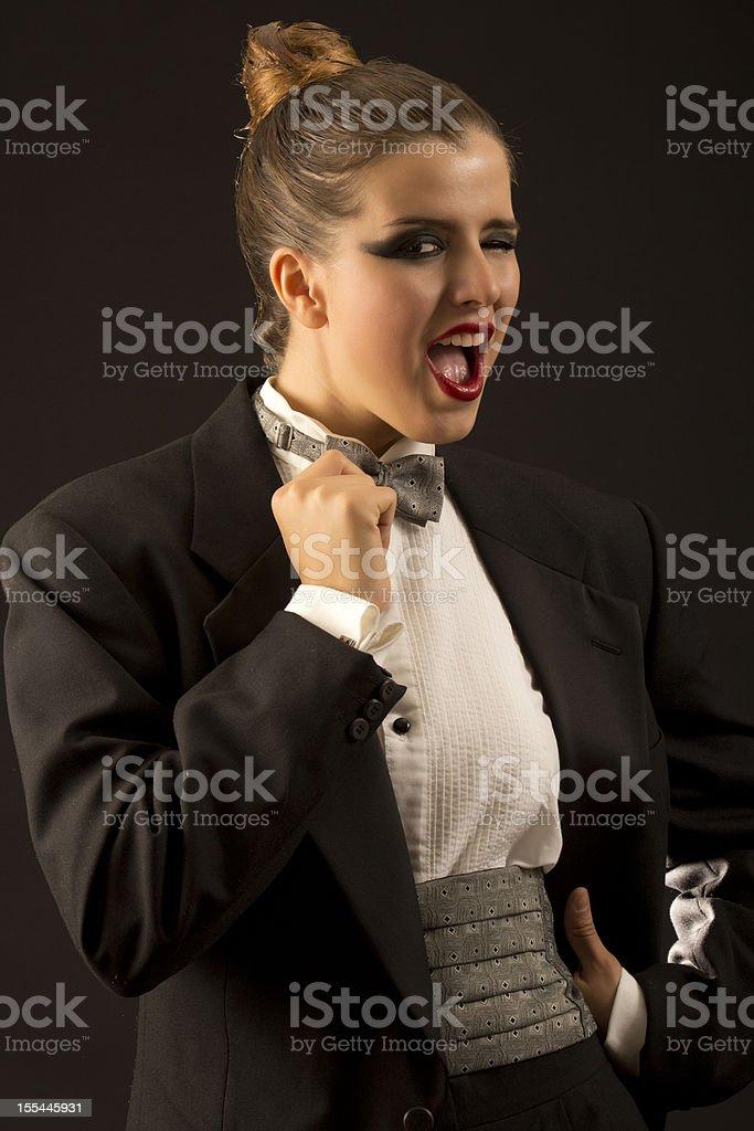 Flicker tuxedo girl stock photo