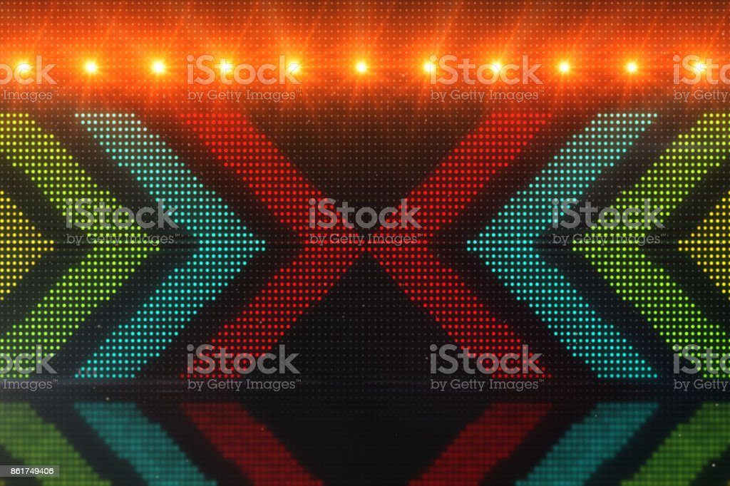 Flickering light background with arrows. Abstract digital backdrop. Technology 3d rendering. stock photo