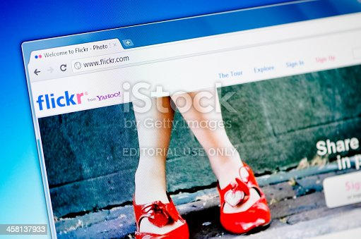 ÓZD, HUNGARY - August 25, 2011: Close up of Flickr's main page on the web browser. Flickr is a very popular photo sharing web site.