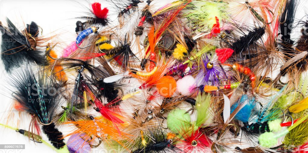 flies for catching fish with feathers stock photo