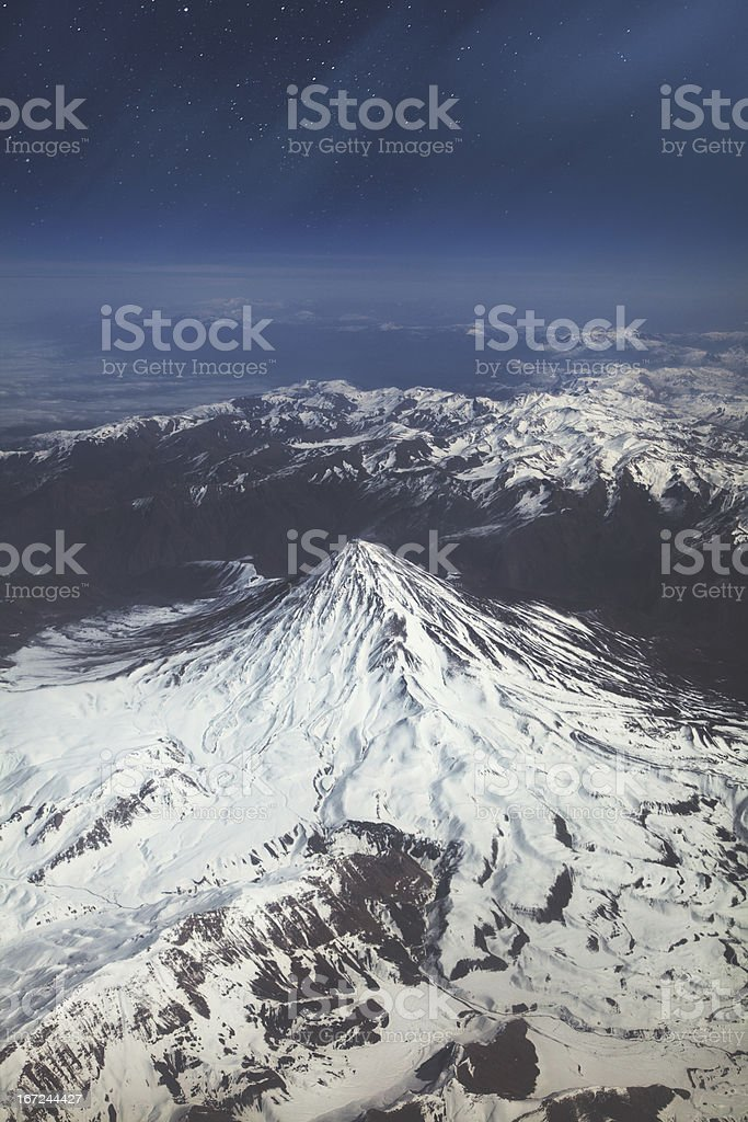 Flight above the mountains royalty-free stock photo