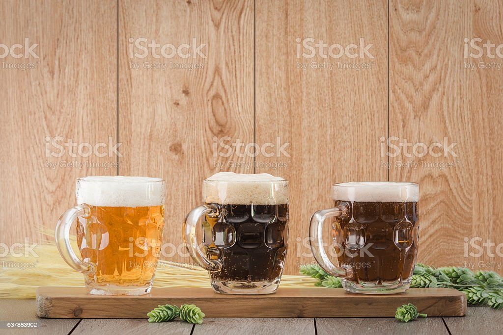Flight beer. Berr for tasting stock photo