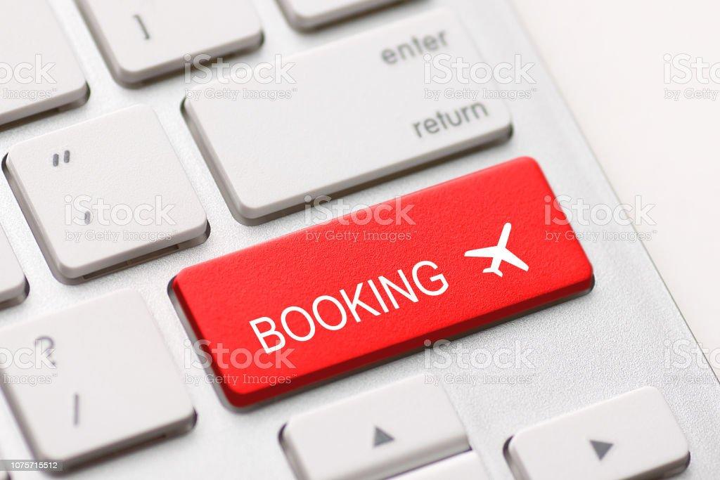 Flug Buchung Tastatur Flugzeug reisen fliegen Prüfung kaufen – Foto