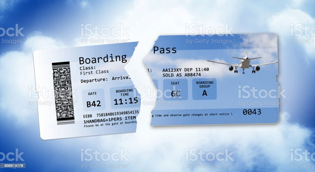 Flight cancelled concept image with ripped flight ticket - The image is totally invented and does not contain under copyright parts stock photo