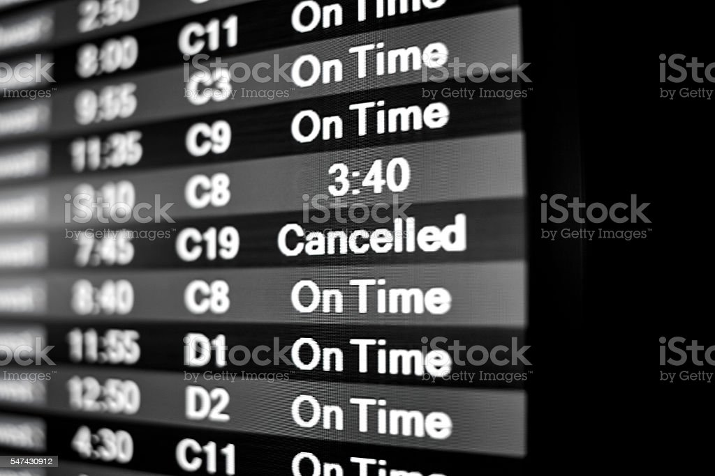Flight Cancelled Notice stock photo