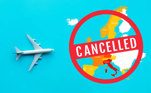Flight cancelled with covid 19-virus epidemic.outbreak covid 19 in europe.save your health.government policy solution stock photo