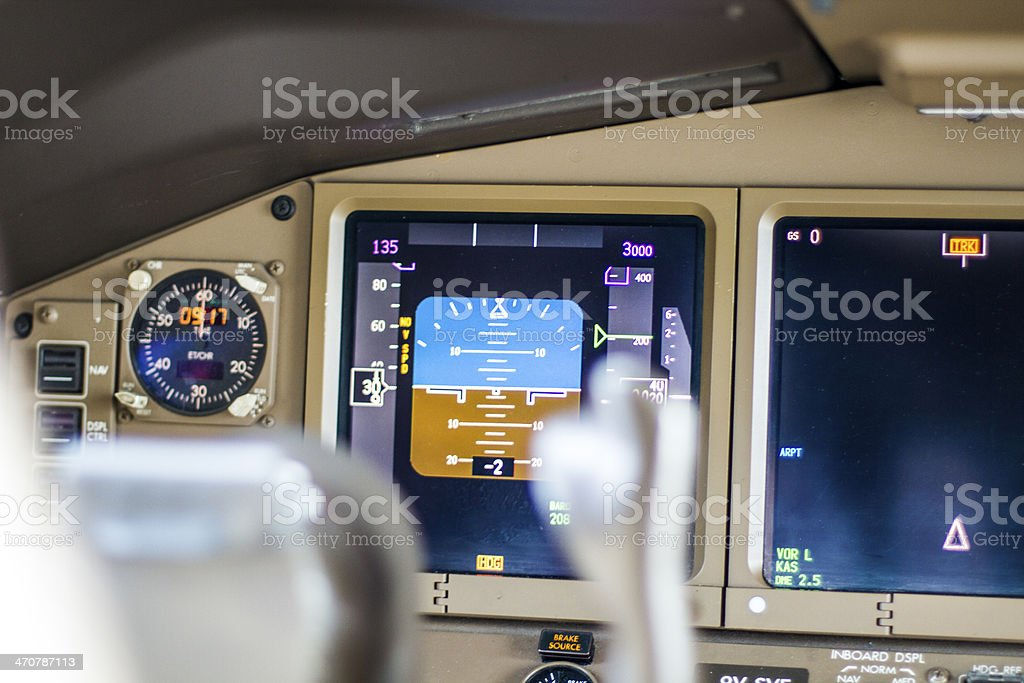 Flight cockpit and airplane controls stock photo