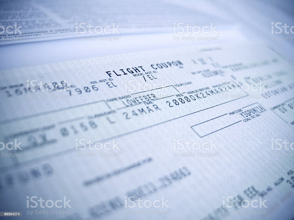 flight coupon stock photo