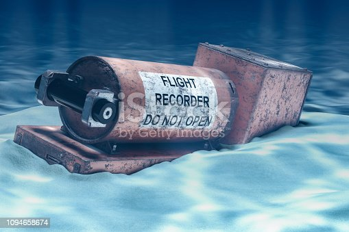 istock Flight data recorder, black box underwater. 3D rendering 1094658674