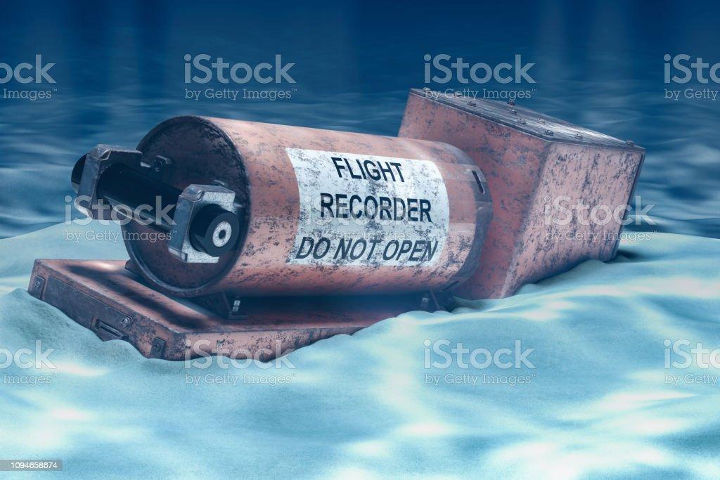 Flight data recorder, black box underwater. 3D rendering stock photo