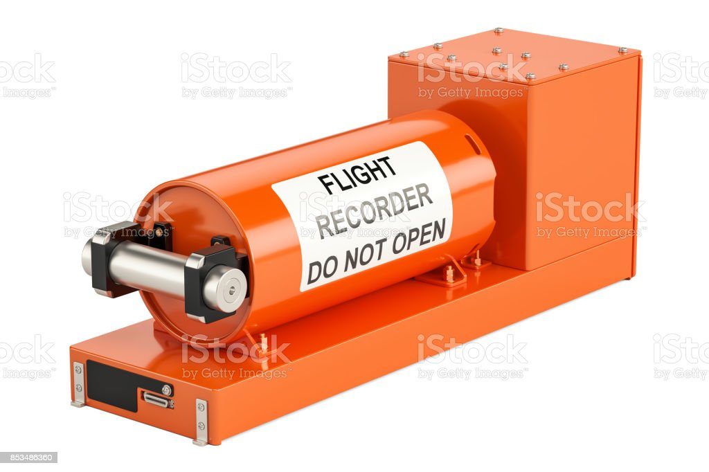 Flight data recorder known as black box, 3D rendering isolated on white background stock photo