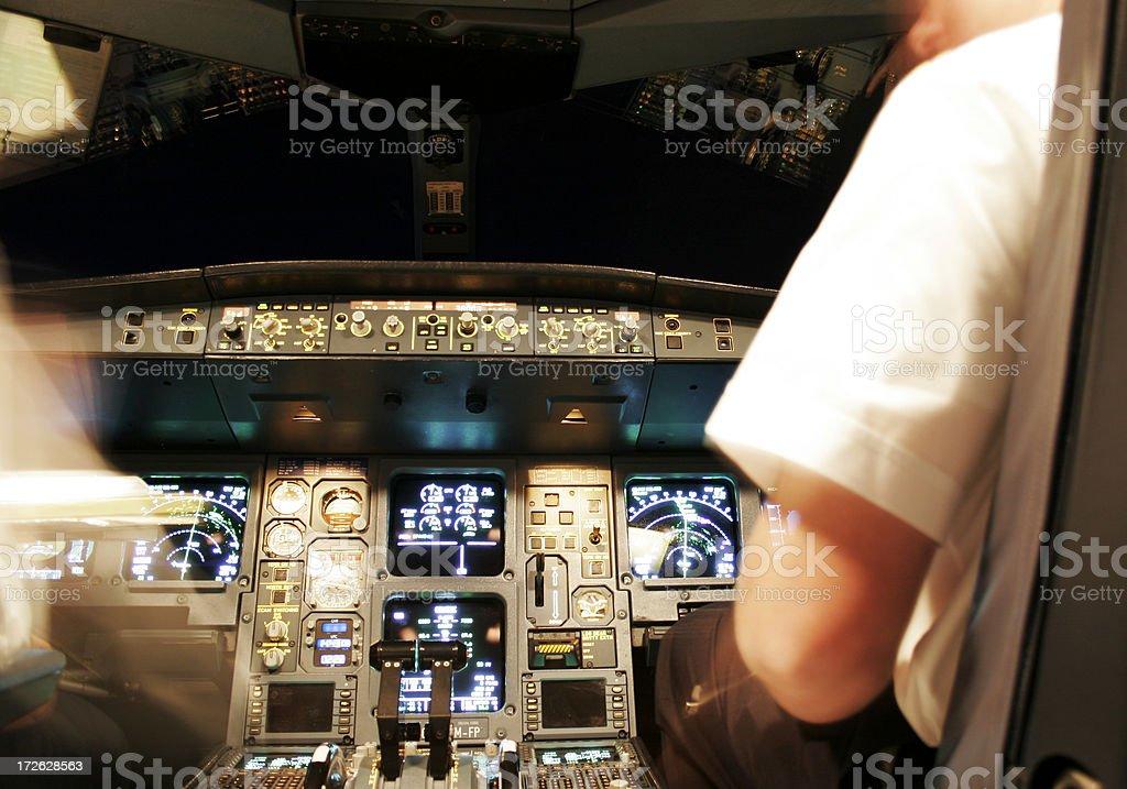 Flight Deck at Night stock photo