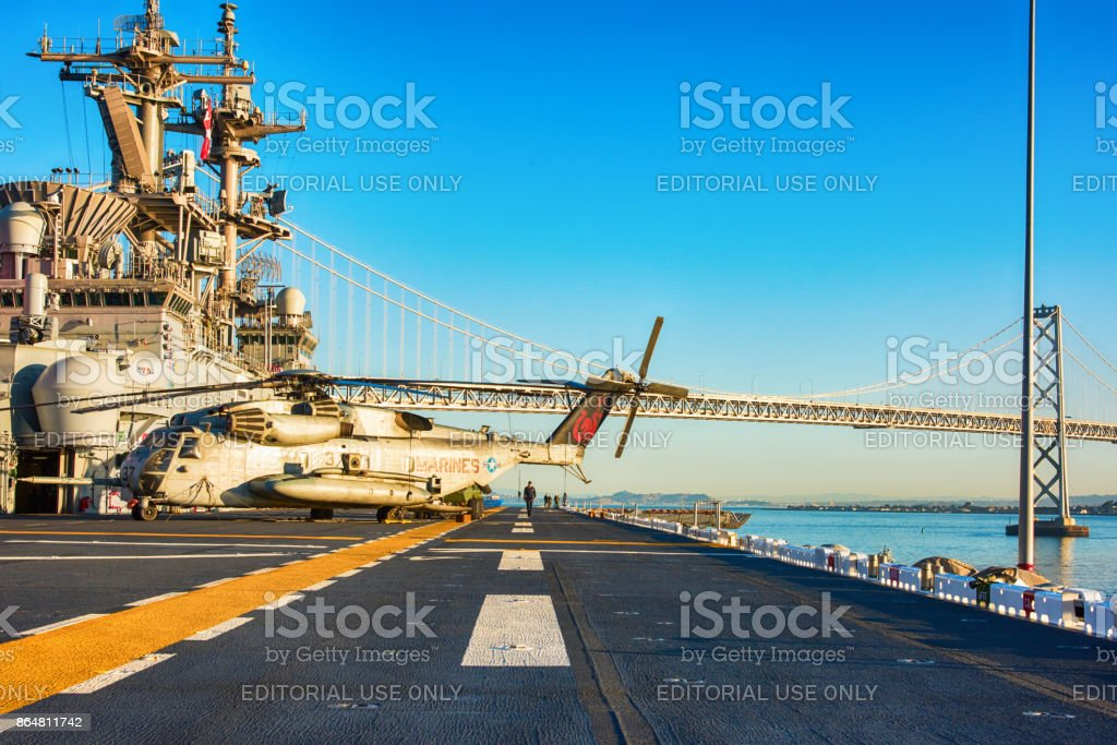 Flight Deck of the USS Essex - LHD 2 stock photo