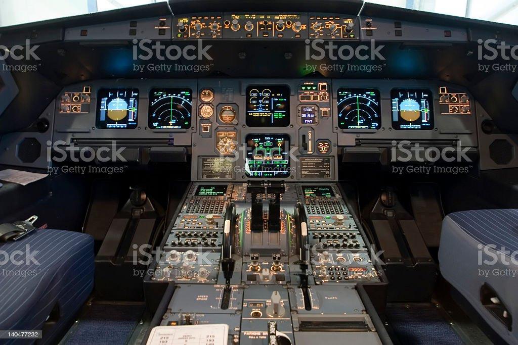 A320 flight deck stock photo