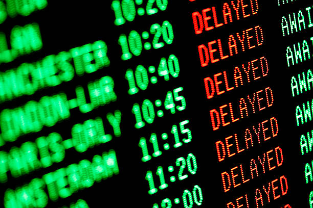flight delays - delayed departures / arrivals screen - flyga bildbanksfoton och bilder