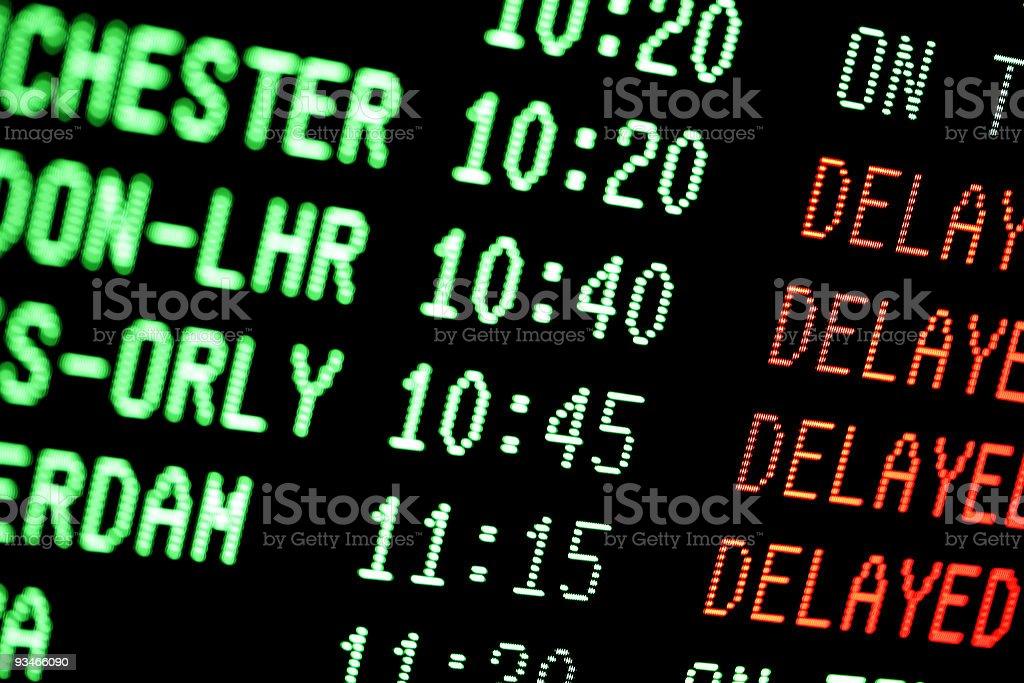 flight delays - departures arrivals screen stock photo