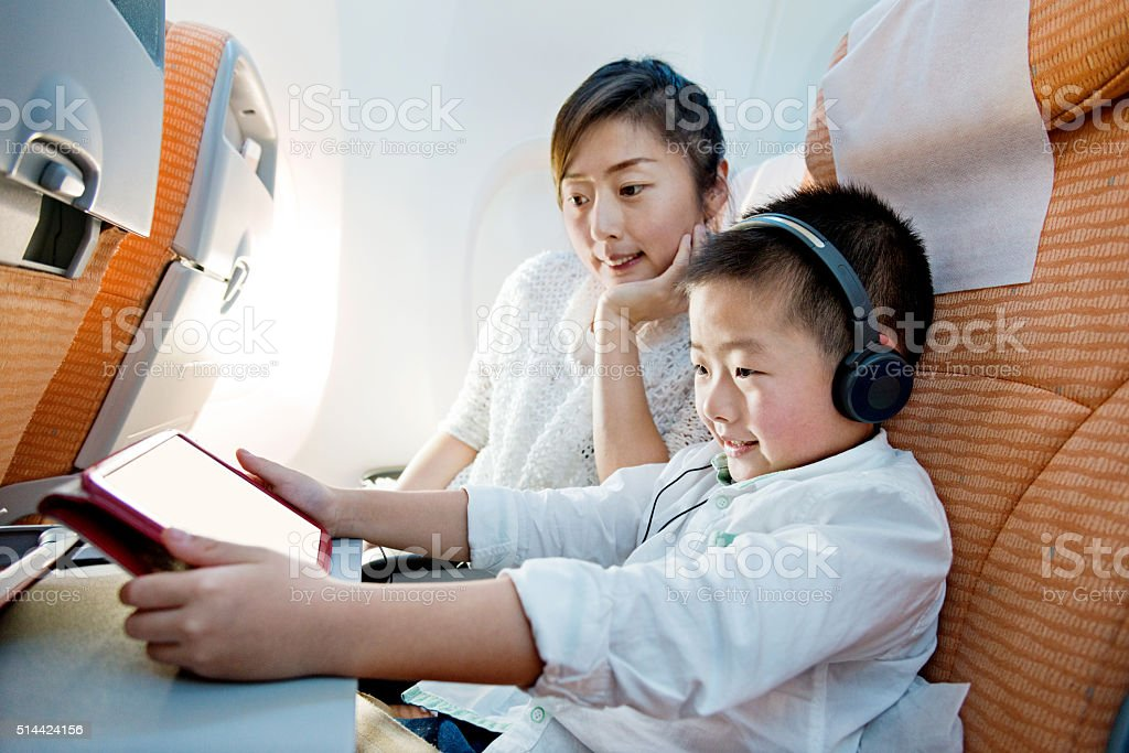 Flight entertainment stock photo
