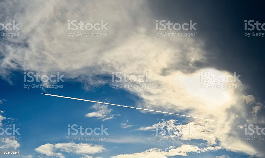 Flight from the storm zone stock photo