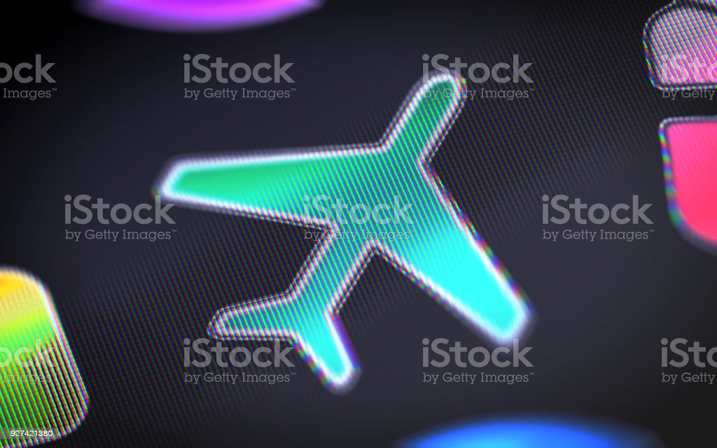 Flight icon on the screen. stock photo