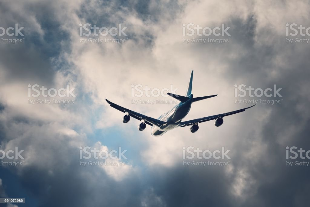 Flight in bad weather stock photo