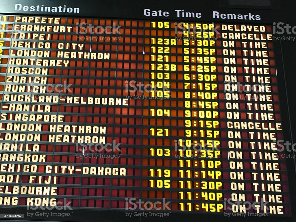 Flight Information Board royalty-free stock photo