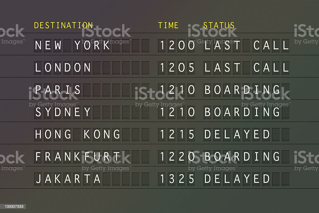 Flight information board with destination, time and status stock photo