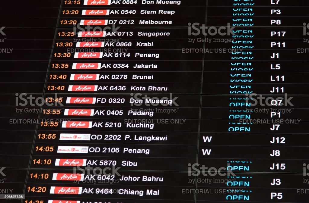 Flight information display stock photo