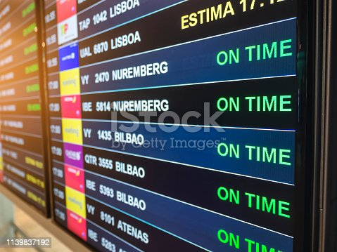 Flight Information Timetable board Airline flight boarding on time Travel concept