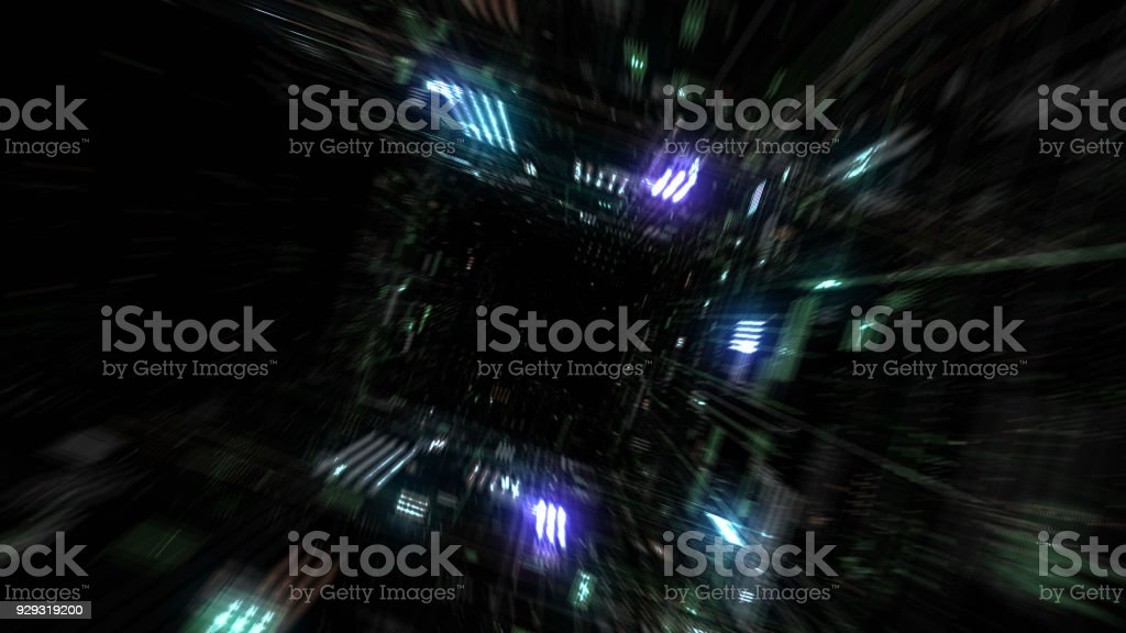 Flight into cosmic futuristic HUD tunnel seamless VJ loop stock photo