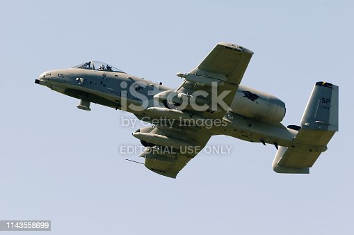 Lesce, Slovenia, August 15, 2009: Flight of US Air Force A-10 Thunderbolt II Warthog scaled RC model with Spangdahlem AB, Germany tail code