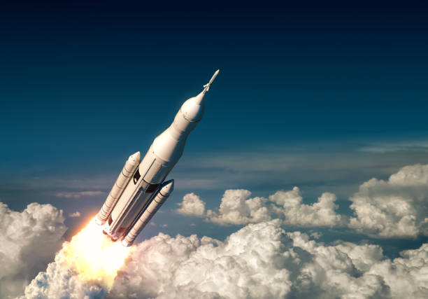 Flight Of Big Carrier Rocket Above The Clouds Flight Of Big Carrier Rocket Above The Clouds. 3D Illustration. rocket stock pictures, royalty-free photos & images