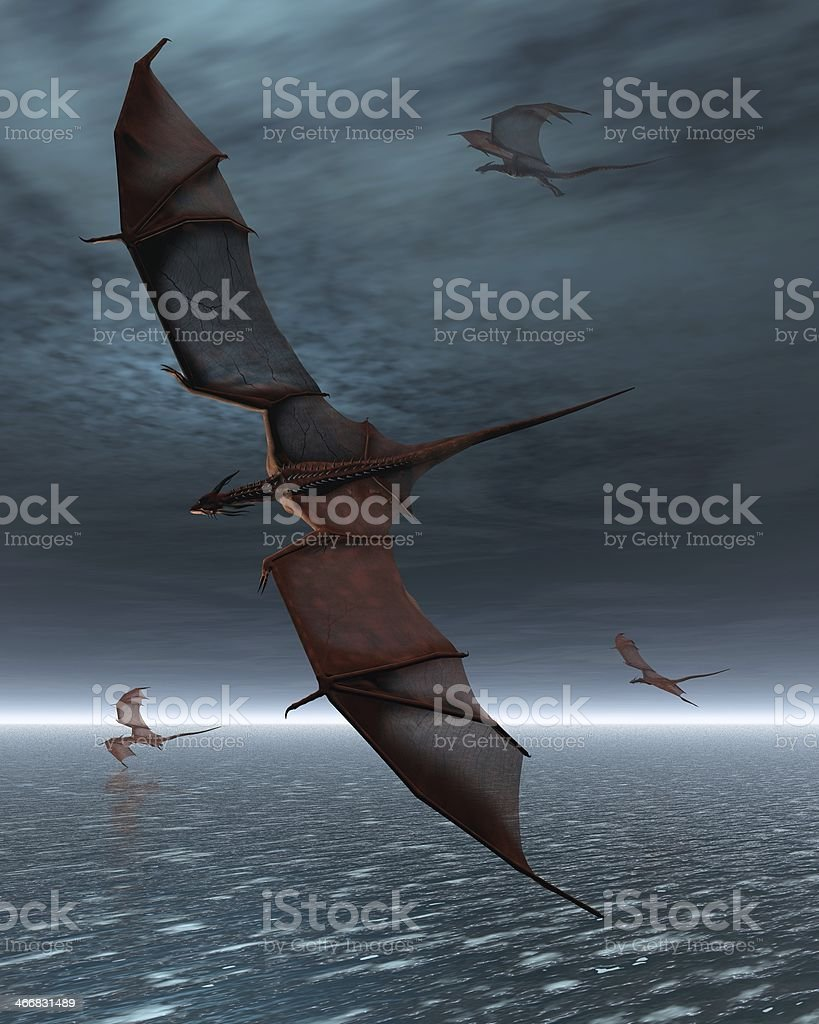 Flight of Red Dragons over the Sea stock photo