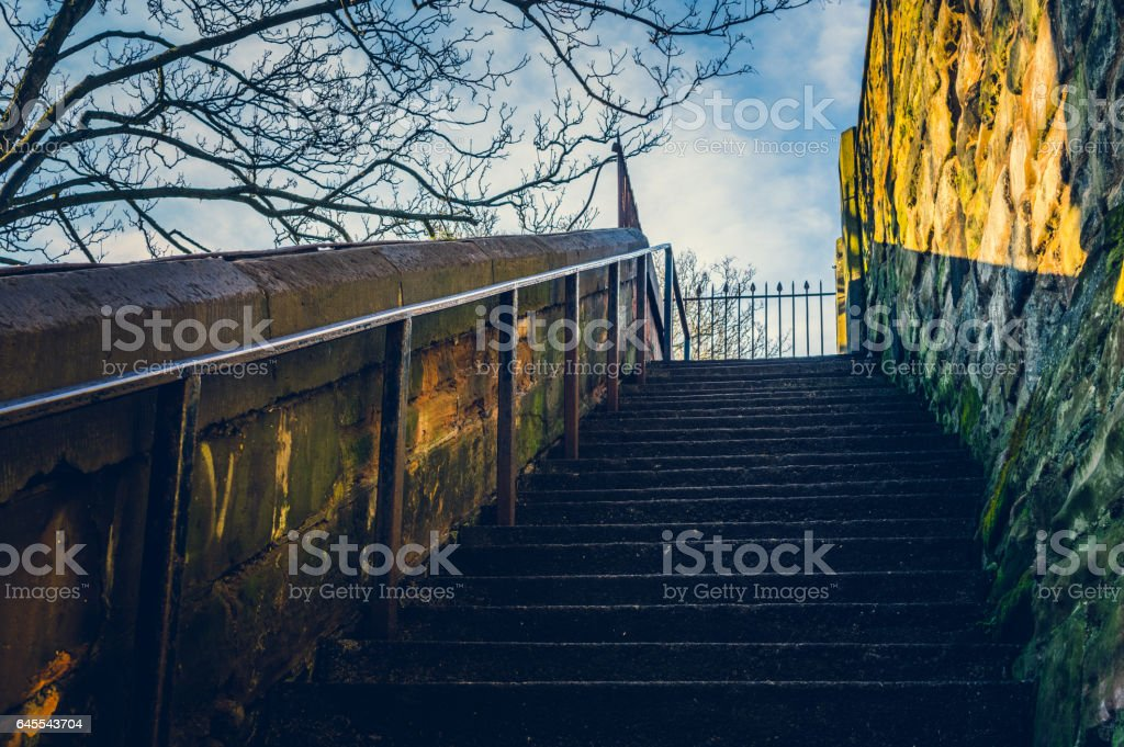 Flight of stone steps stock photo