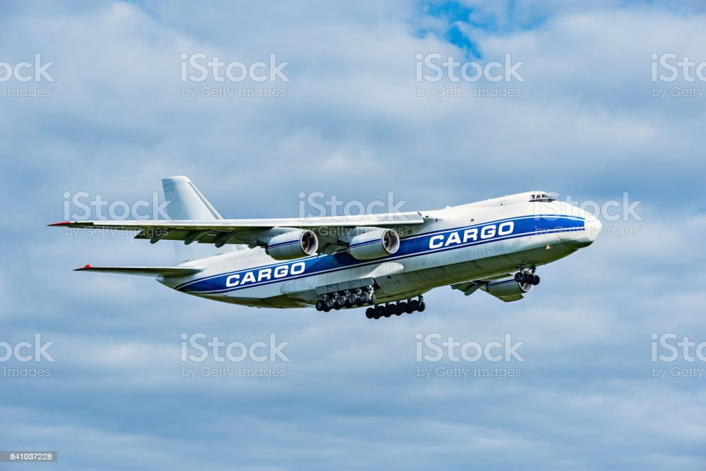 Flight of the big cargo airliner. stock photo