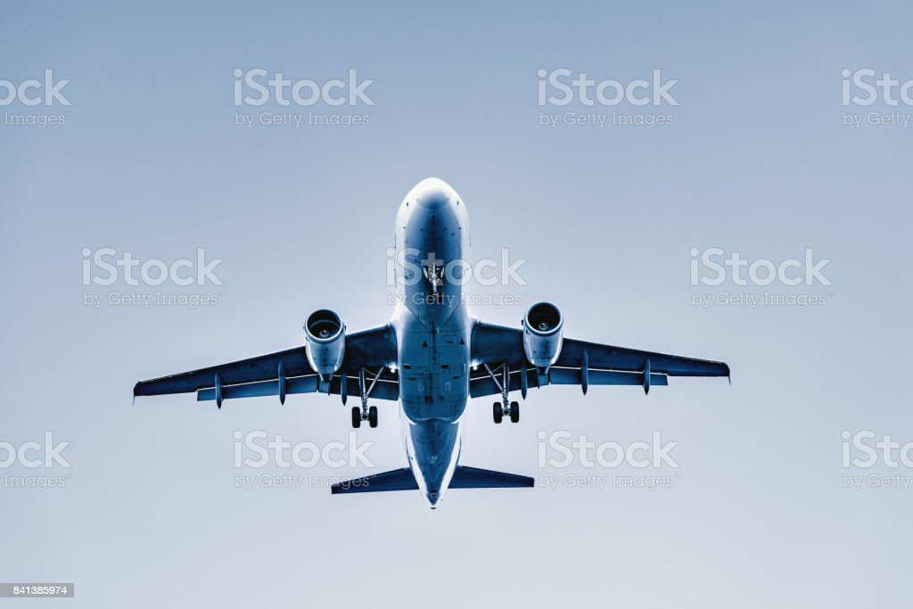 Flight of the passenger plane. stock photo