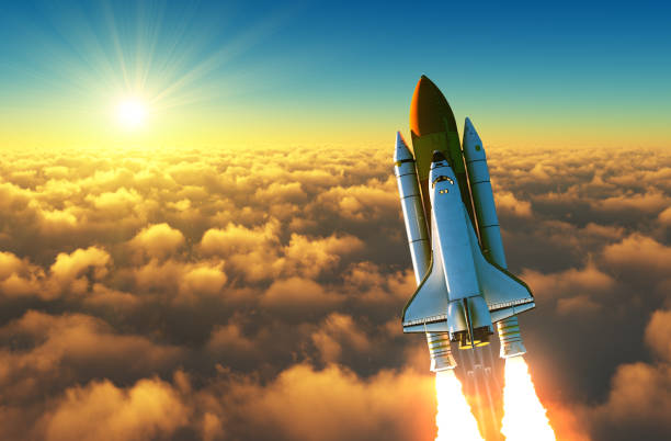 Flight Of The Space Shuttle Above The Clouds In The Rays Of The Rising Sun. Flight Of The Space Shuttle Above The Clouds In The Rays Of The Rising Sun. 3D Illustration. rocket stock pictures, royalty-free photos & images