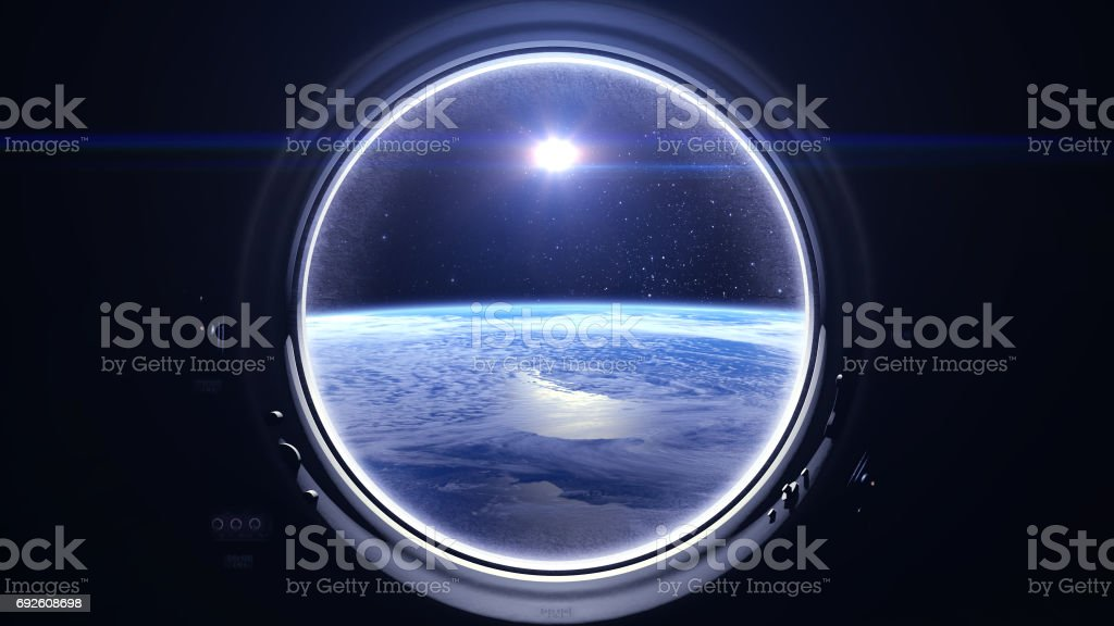 Flight Of The Space Station Above The Earth. International space station is orbiting the Earth. Earth as seen through round window of ISS. The sun in the window of the spacecraft. Starry sky. NASA. stock photo