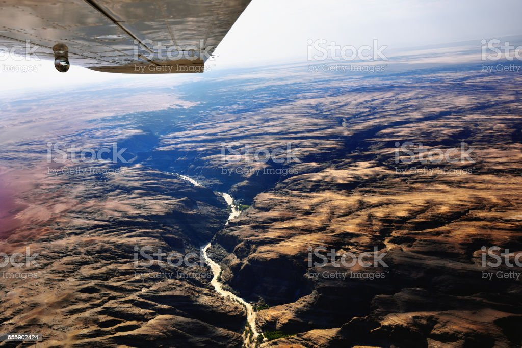Flight over Kuiseb canyon, Namibia stock photo