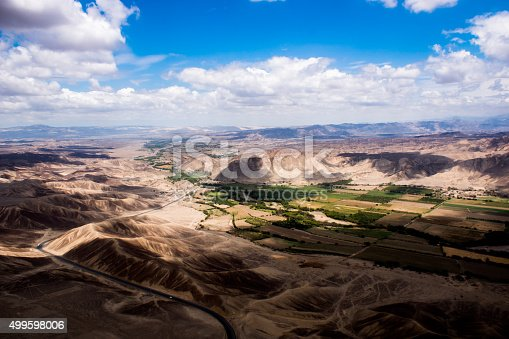 istock Flight over Nazca Lines: Canyon and Mountains 499598006