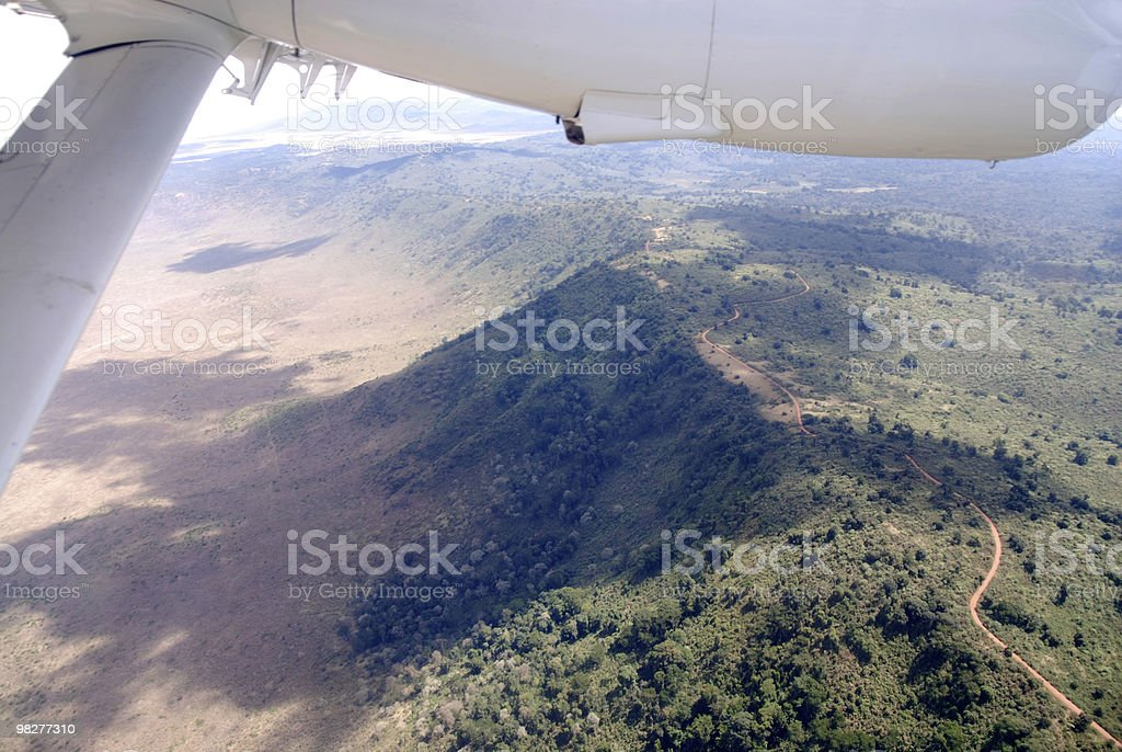 Flight over Ngorongoro Crater, Tanzania, East Africa royalty-free stock photo