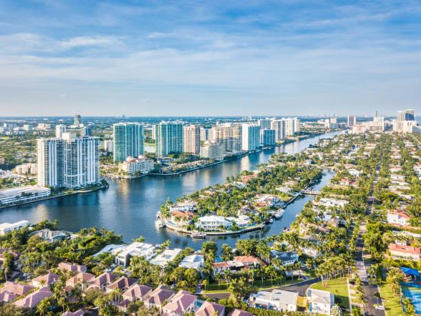 Flight over the Atlantic Coast of South Florida stock photo